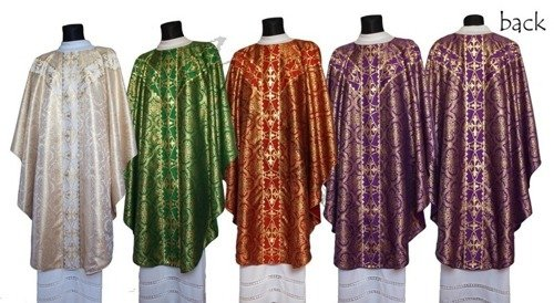 Set of 4 semi gothic chasubles SET-GY102-14